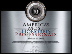 Michael Wilfred Dotts America's Most Honored Professionals Award
